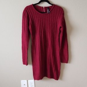 Bodycon sweater dress warm cute full sleeves red